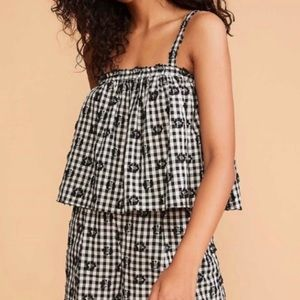 Lou & Grey Gingham Floral Cropped Cotton Tank NWT